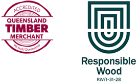 Accredited Queensland Timber Merchant and Responsible Wood Logos